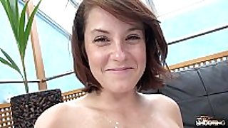 Busty 18yo chick first time drilled for camera on...