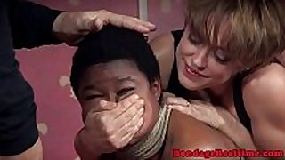 Bigtitted black sub pounded in coarse threeway