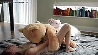 Petite young blond riding a teddy - evilcams.net