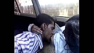 Indian legal age teenager chick in the car is fed with a...