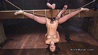 Tied up to wooden beam upside down dark brown screwed