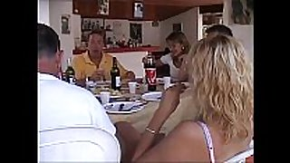 At lunch table a dinner turns into an fuckfest!