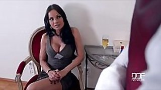 Hungarian nymphos share a black monster strapon fo...