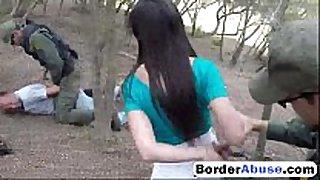 Cute black brown hair sucks large strapon outdoors2
