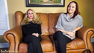 Casting couch amateurs go lesbo in dual inter...