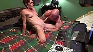 Milf screwed by big fake dong and sucks strapon on ch...
