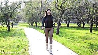 Jeny smith seamless hose suit public flash