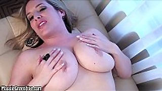 Natural breasty maggie green masturbates & cums!