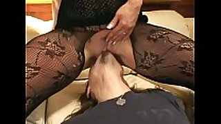 Pantyhose face sitting and blow job stimulation sex on a sofa
