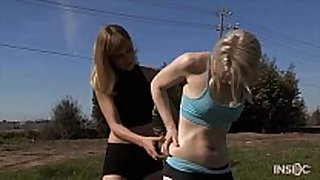 Shy golden-haired workout white chicks endures lezdom shaming