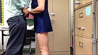 Busty aunty playing boss knob in work place
