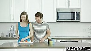 Blacked tali dovas boyfriend lets her try a large...