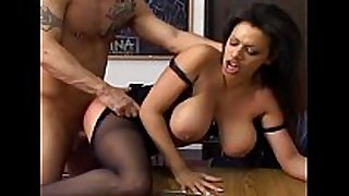 Busty milf has sex in dark crotchless stockings