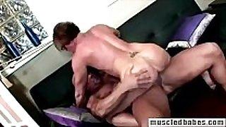 54yo muscled milf sucks hunk strapon