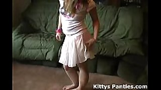 Petite legal age teenager kitty flashing her pants in a tin...