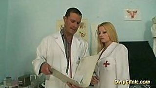 Blonde sexy nurse rides strapon