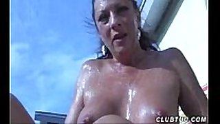 Naked mature white BBC slut cook jerking