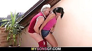 He finds her sucking and riding his dad's strapon