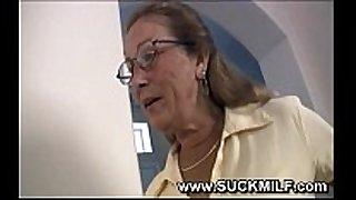 Horny cougar granny sucks young stud