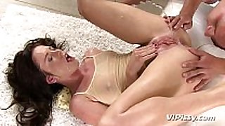 Horny sweetheart showers in her mans new urine