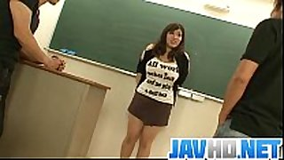 Plump and busty student screwed by 2 hung and ...