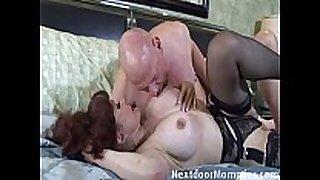 Bald chap bonks big breasted redhead