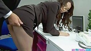 Sexy office playgirl bending over and fucked hardc...