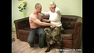 Blonde mama and her juvenile guy on daybed