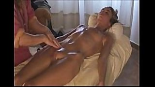 Woman gives massage to hot dilettante white doxy