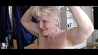 Two grannies and fellow have sex