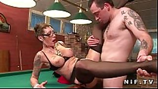 Big boobed french aged with tattoo's receives team-fucked