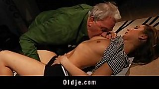 Old fellow got fuck lesson from youthful golden-haired