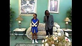 Ebony cheerleader slammed hard so hawt