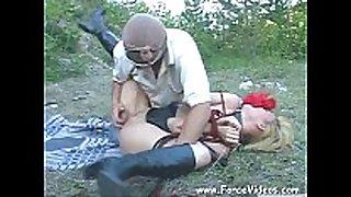 Masked fellow rapes a women hard in garden, extrem...