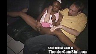 Ebony whore cum coated in a porn theater!