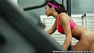 Therealworkout busty asian gym honey taut love tunnel...