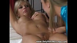 Blonde masseuse stimulates love button with her tongue