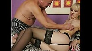 Grandpa fucking young golden-haired BBC whore