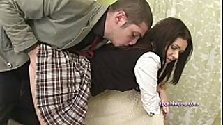 Girl in schoolgirl uniform screwed