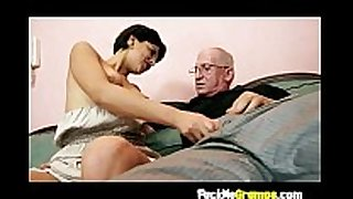 Teen giving old chap hard strapon