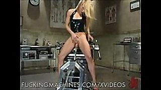Blondie rides a fucking machine