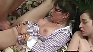 Horny trio on the ottoman with a young and m...