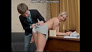 Blonde trainer intensely fucking with her pupil