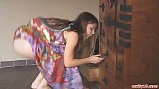 Hippie costume on stripping legal age teenager