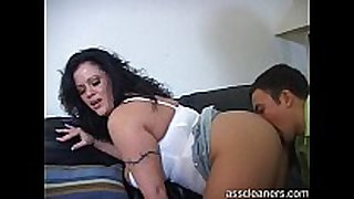 Mistress groans loud as guy licks her wazoo hole