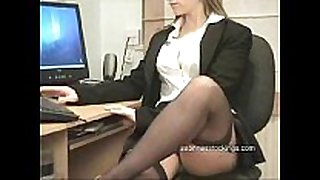 Secretary in stockings upskirt flashing