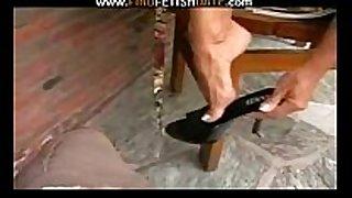 Black high heels & toes fetish