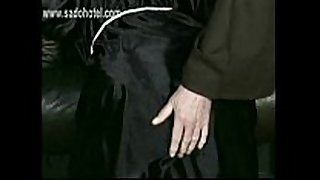 Horny nun is kneeling and bend over a chair and...
