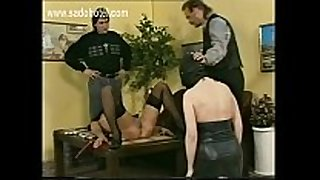 Slave lying on table got her legs spread by mas...