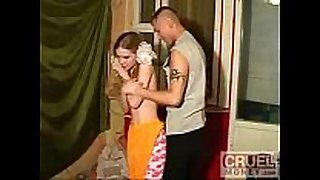 Step brother forces his little step sister to fuck